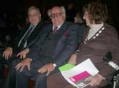 Farouk Mustafa, Khairy Shalaby and Elaine Feinstein at the award ceremony